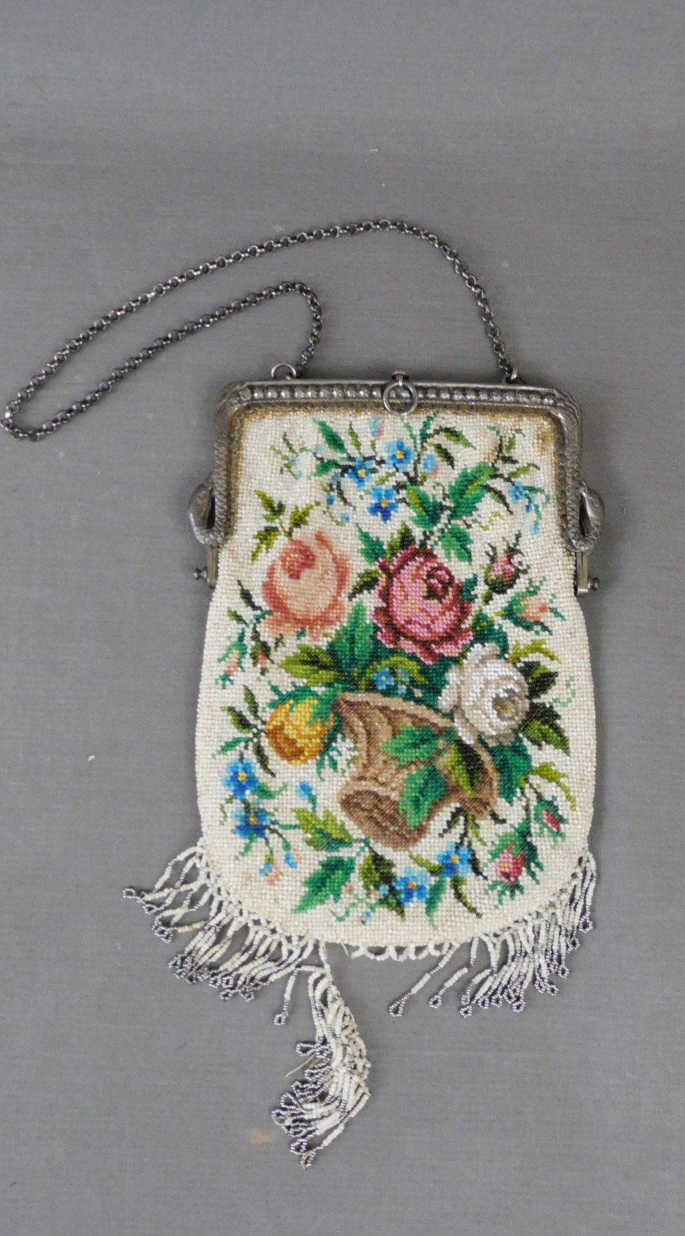 Vintage Beaded Floral Purse with Silver Holland Dutch Frame, Swans and Small Head Opening Mechanism 1910 Edwardian