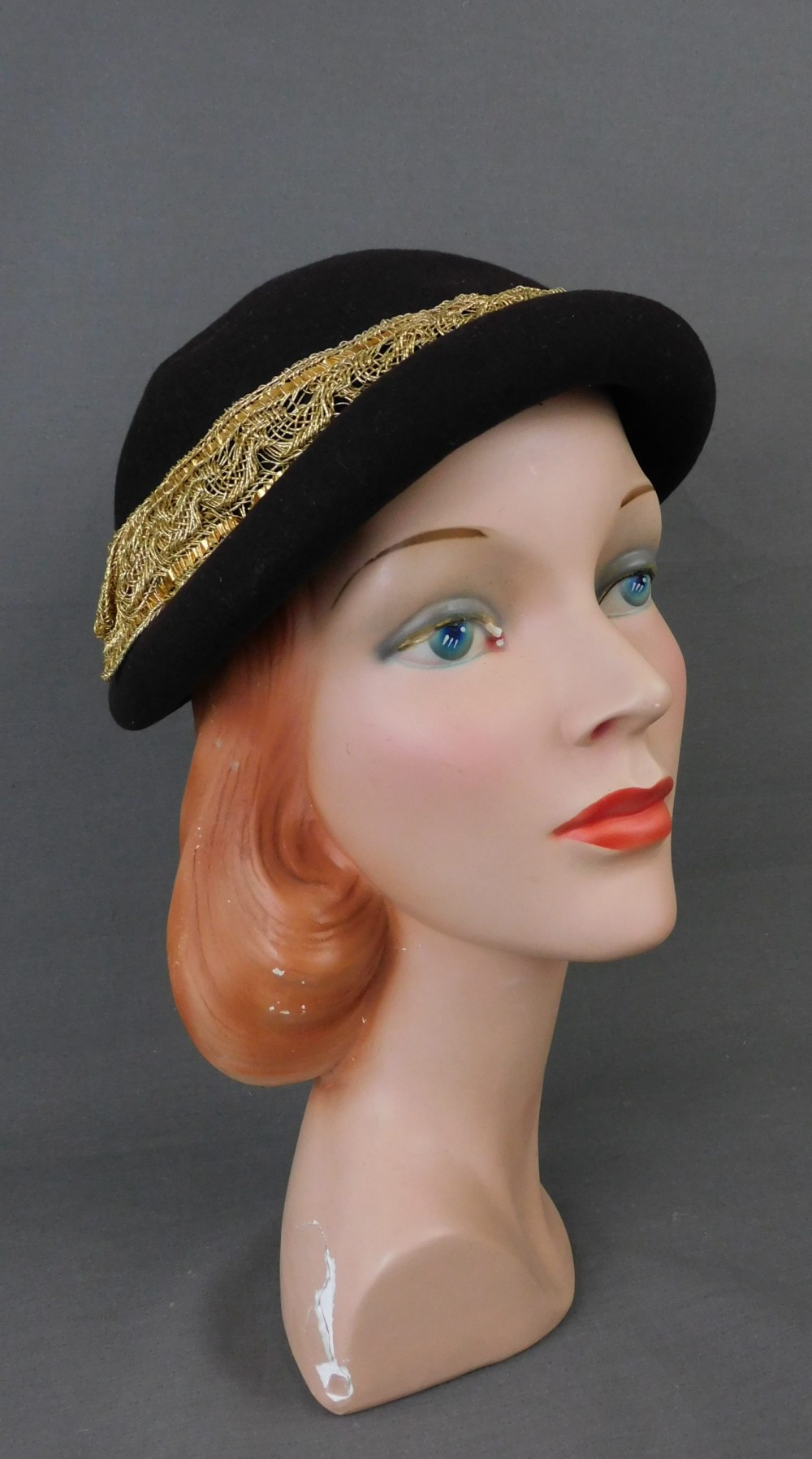 Vintage Brown Felt Hat with Gold Trim, fits 22 inch head 1940s
