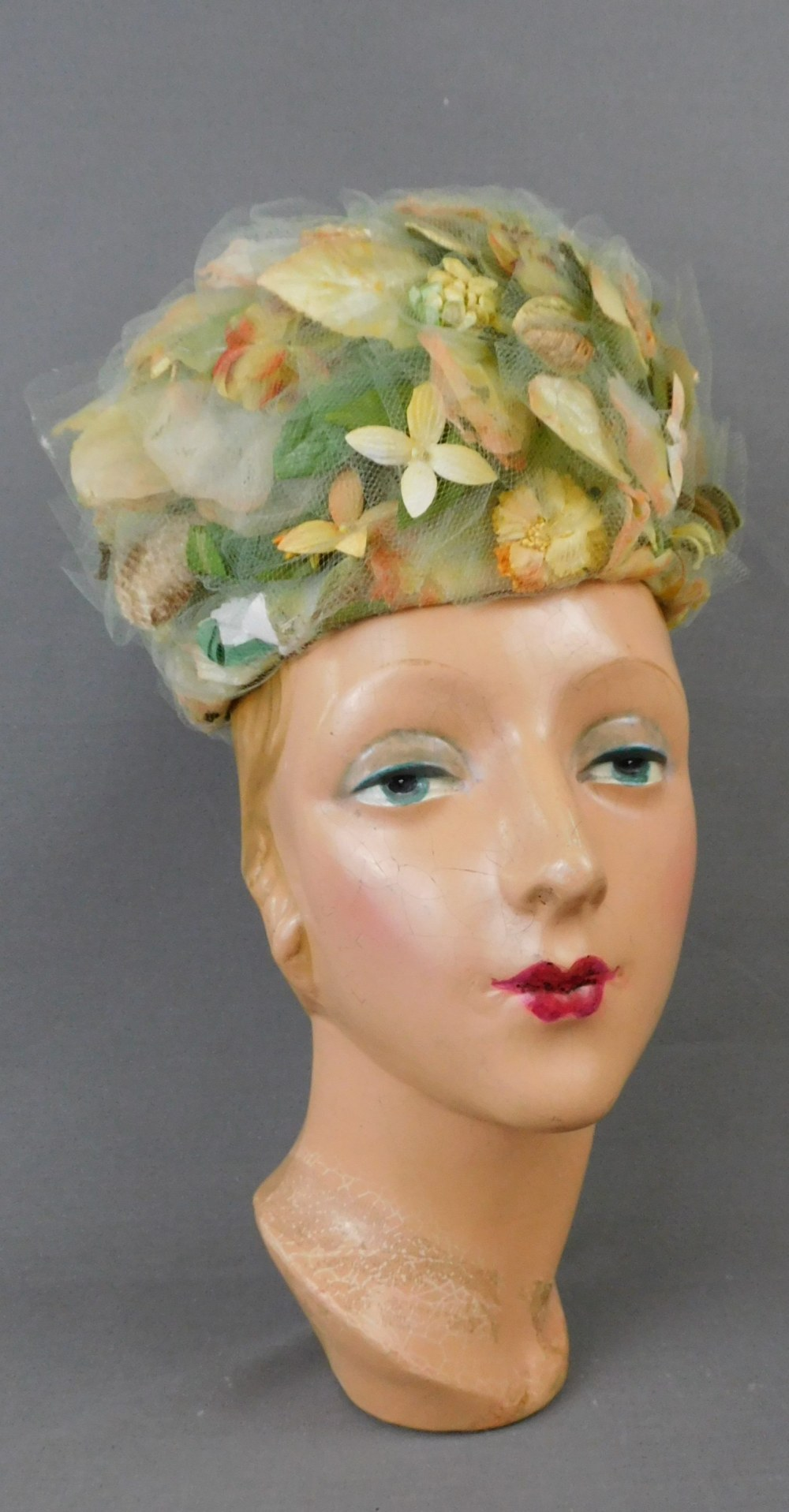 Vintage Yellow and Green Floral and Tulle Hat, 1960s, 22 inch head