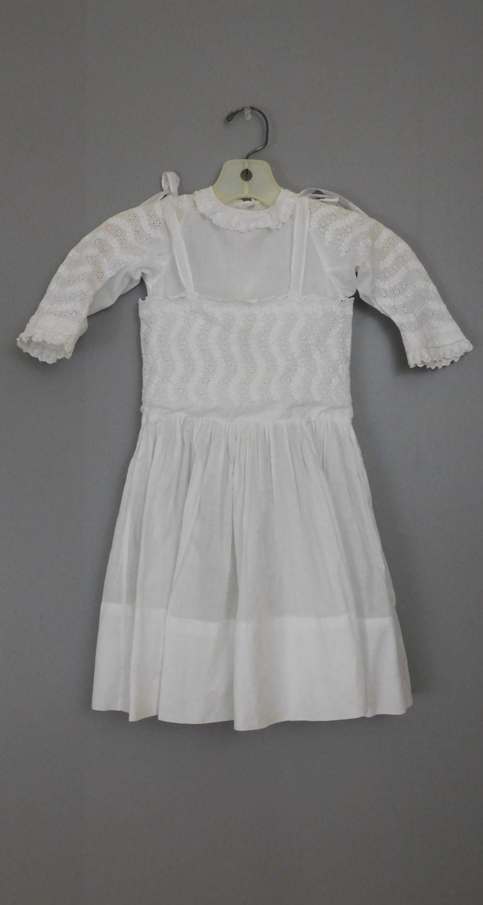 Antique Edwardian Little Girl Dress, Embroidered White Cotton 20 inch chest