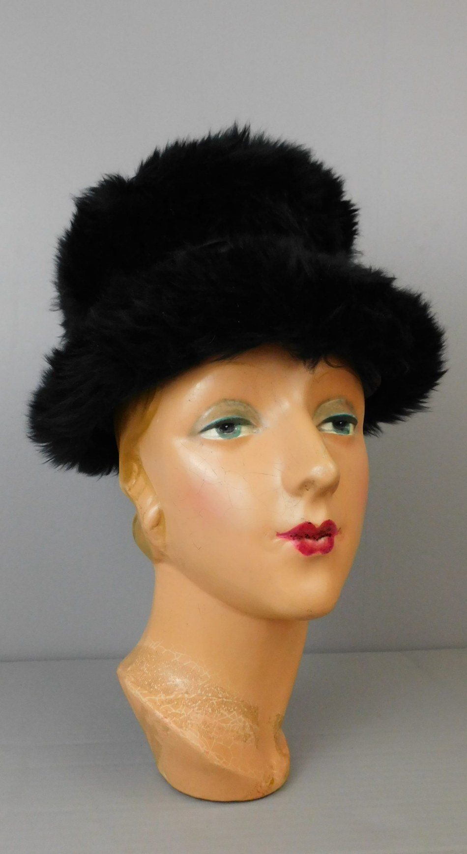 Vintage Thick Black Fur Hat with Satin top and band, 1960s, 21 to 22 inch head