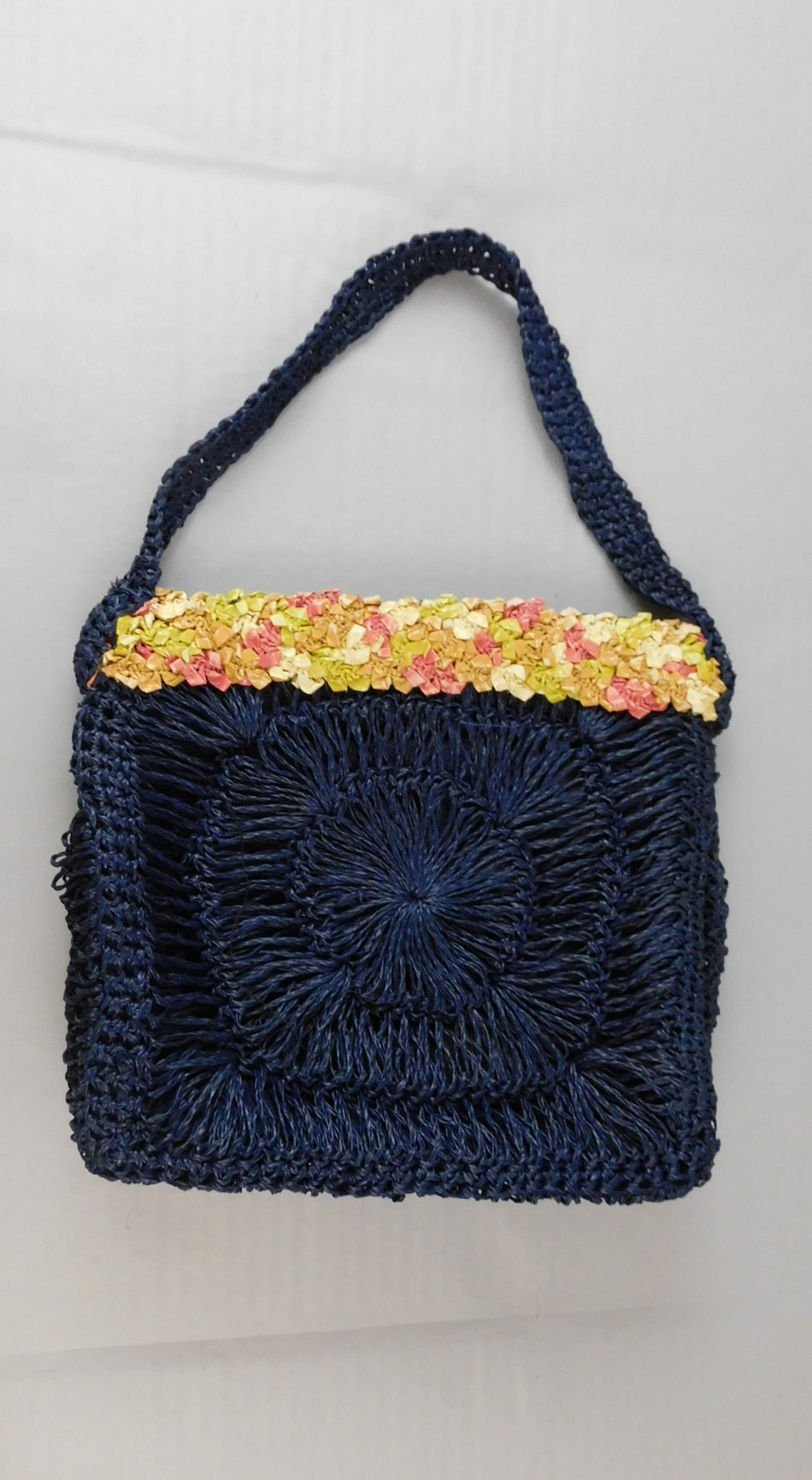 Vintage 1950s Navy Straw Purse with Colorful Straw Ribbon