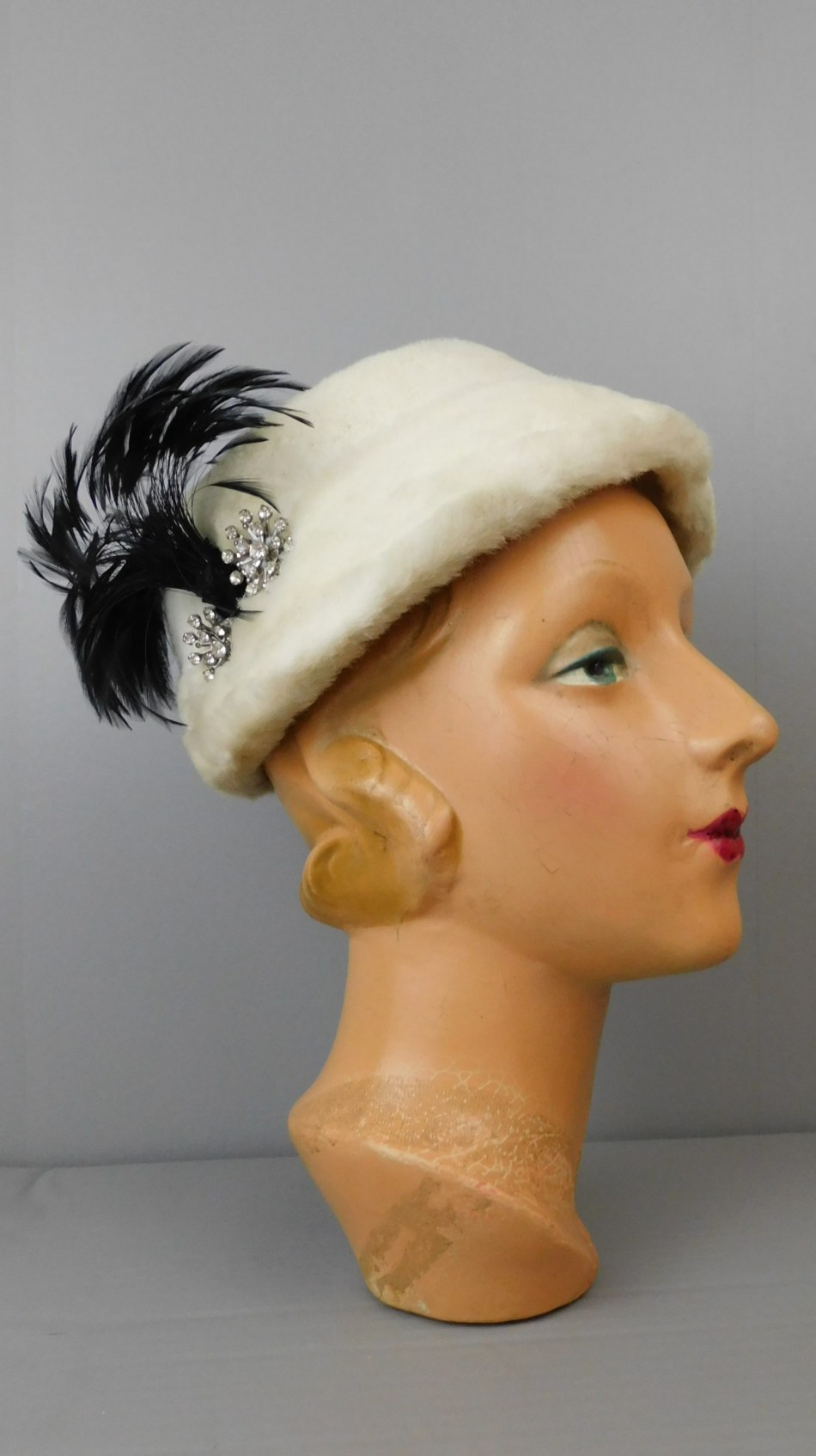 Vintage White Faux Fur Hat with Black Feathers and Rhinestones, 1950s, 21 inch head