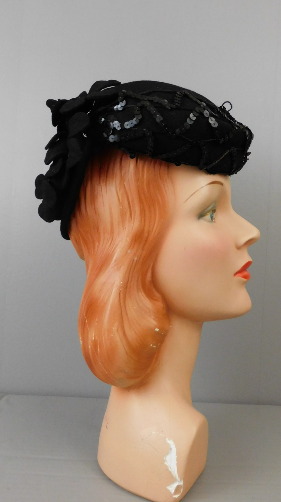 Vintage 1940s Black Felt Topper Hat Flowers and Sequins, with Ring