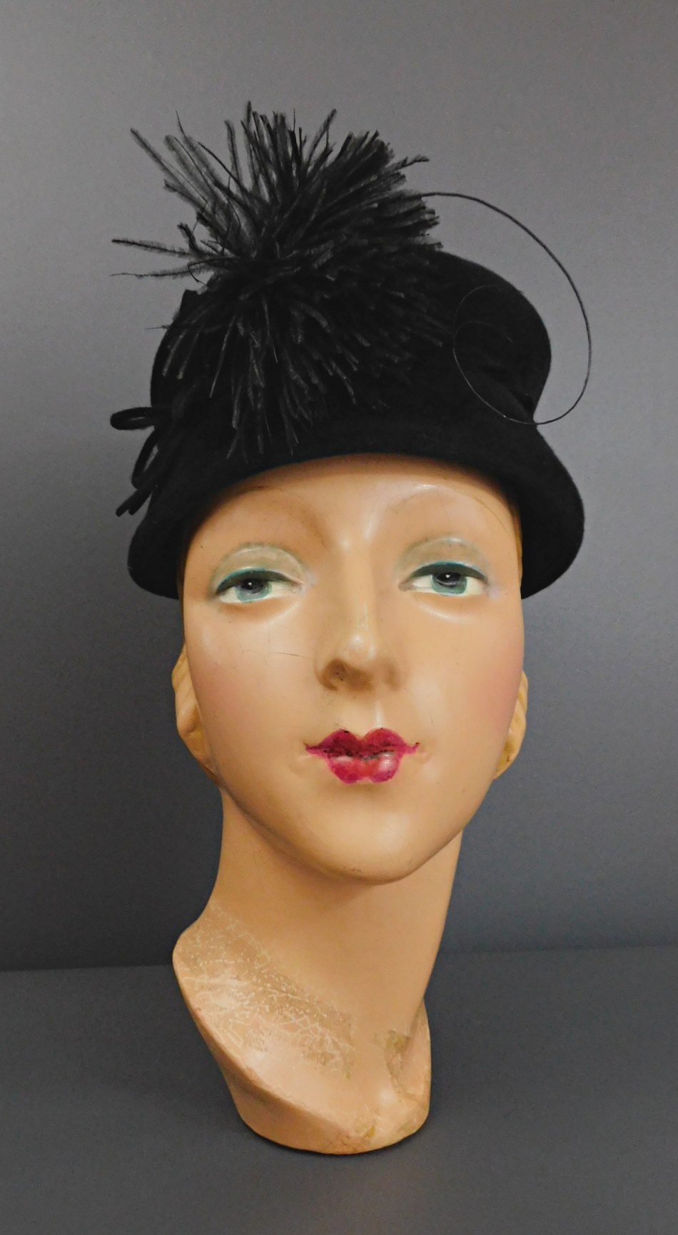 Vintage Black Velour Hat with Felt Bow and Feather Puff, 1950s Toque, 21 inch head