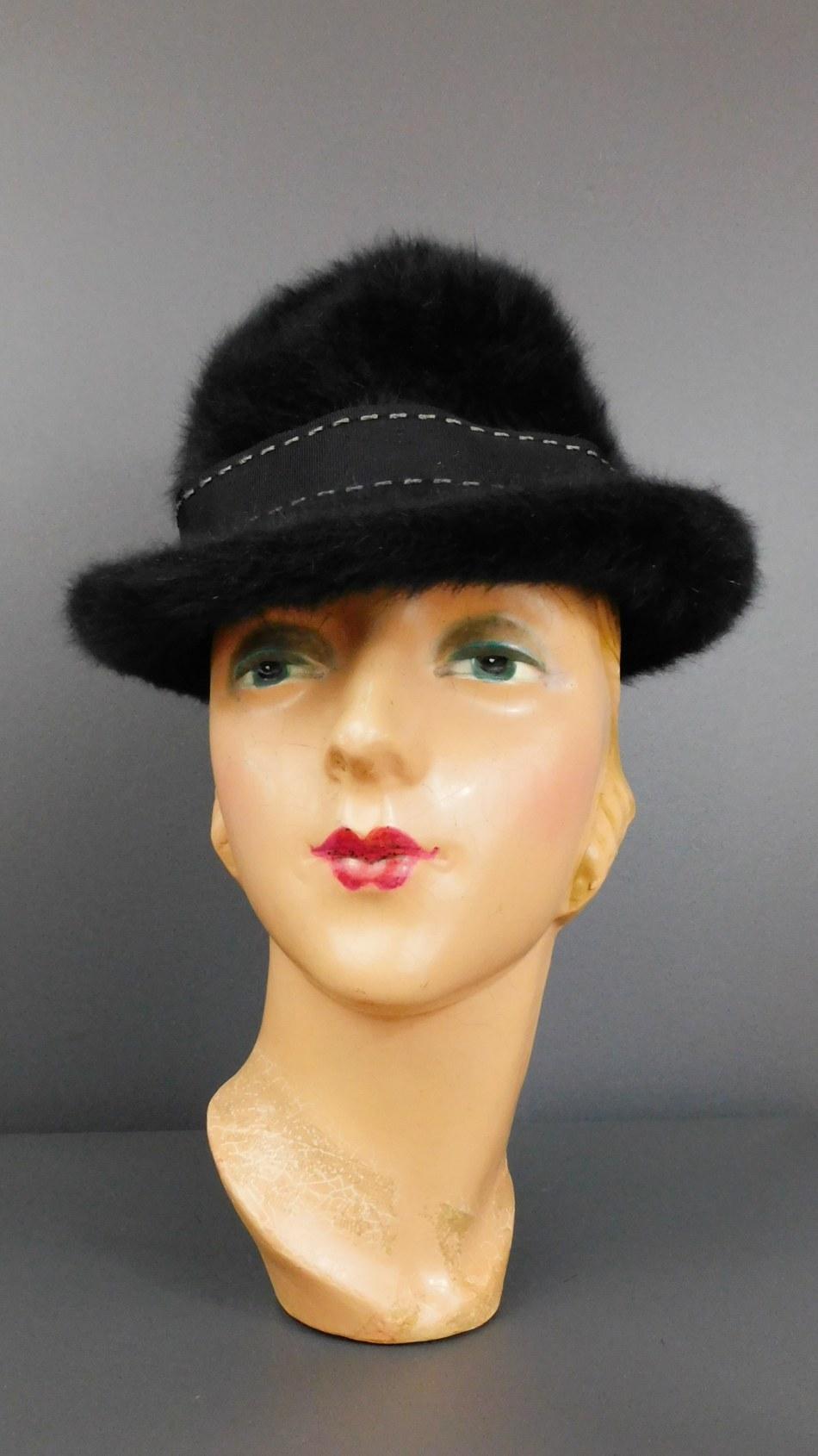 Vintage Black Fuzzy Angora Kangol Hat, 21 inch head