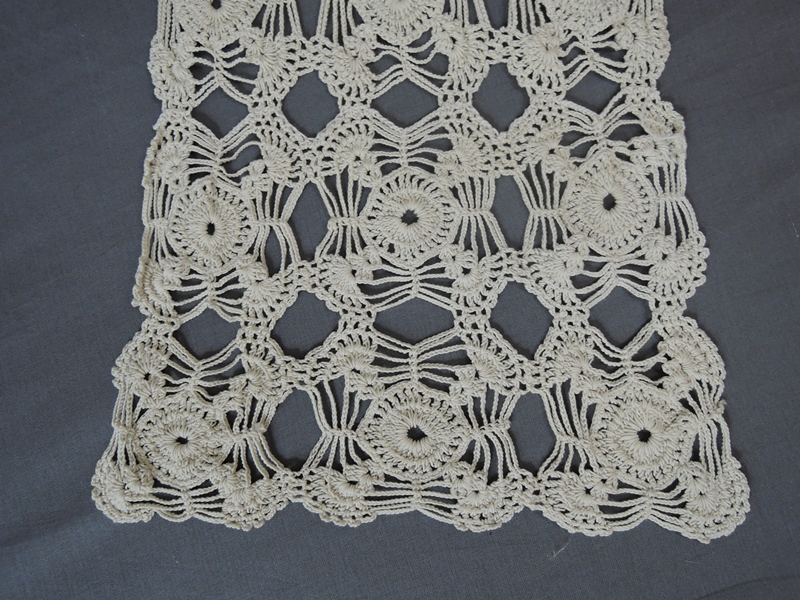 Vintage Crochet Table Runner, Handmade 1940s, 60 x 11 inches, Ivory Cotton