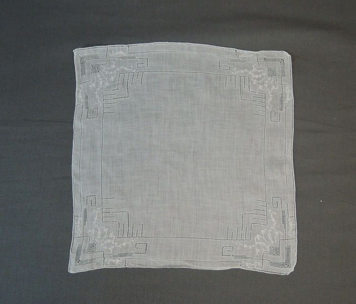 Vintage White Hankie with Fine Embroidery & Drawn work, 1950s