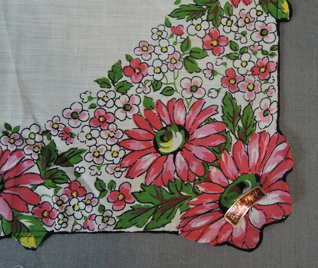 Vintage Hankie with Dark Pink Flowers & Black Edge, unused 1950s