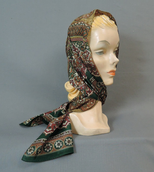 Vintage Scarf in Rich Shades of Brown & Dark Green by Echo, 11 x 56 inches, 1980s