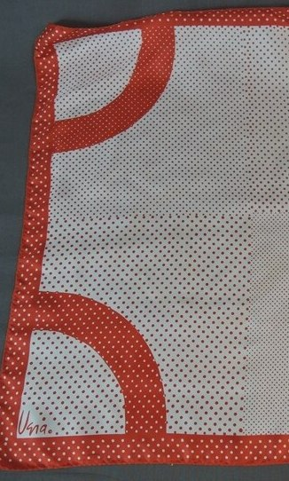 Red & White Polka Dot Vera Scarf, Vintage 1970s, 22 x 22 inches