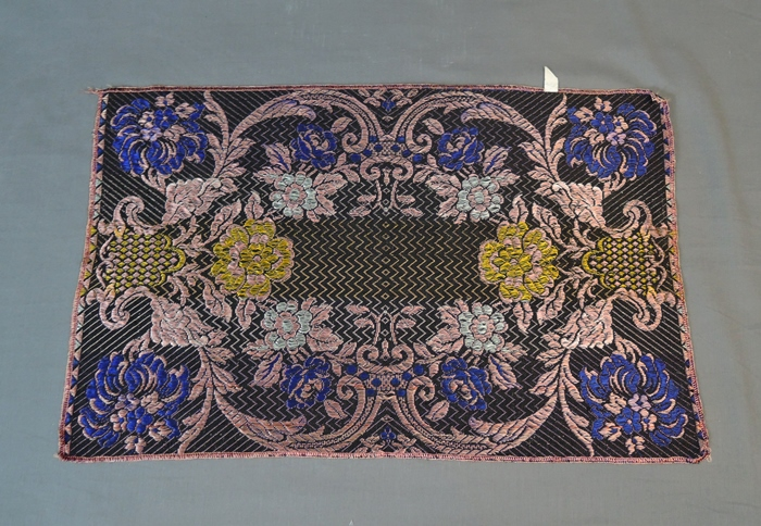 Vintage Brocade Runner, Made in Italy, 1940s Black Floral Decor, 16 x 25 inches