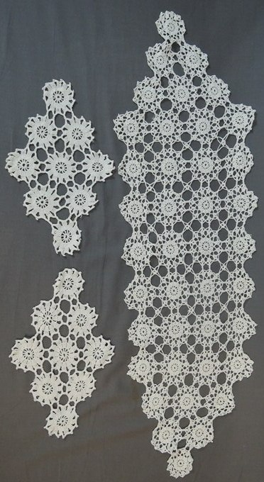 3 Vintage Crochet Items - Doilies & Runner, Hand made 1940s