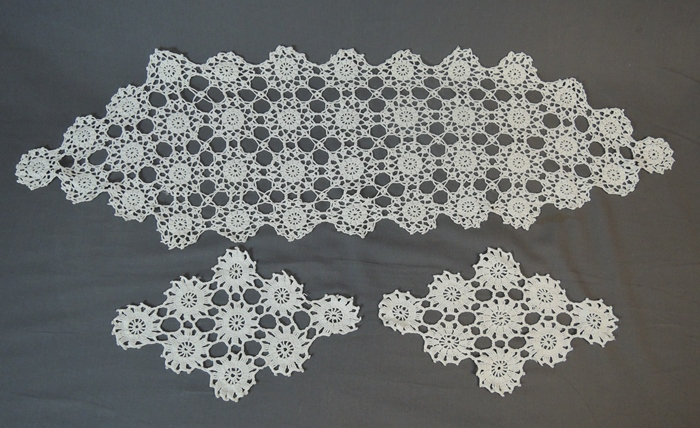 3 Vintage Crochet Items - Doilies & Runner, Hand made 1940s