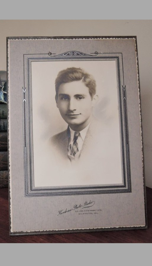 Vintage Photo of a handsome young man from the 1940s, Art Deco Cardboard Frame