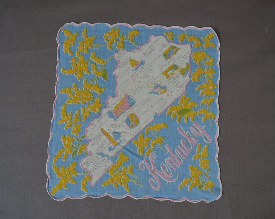 1950s Kentucky State Hankie, Vintage Novelty Print Hankie, 1950s Kentucky Map