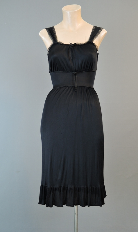 Vintage 1960s Black Acetate Knit Nightgown, fits 32 inch bust