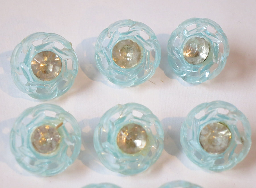 8 Vintage Pale Blue Clear Plastic buttons with Rhinestone centers, 1940s 1950s 1/2 inch