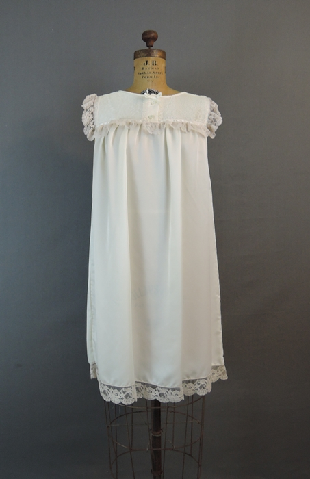 Vintage 1980s Barbizon Ivory Satin Nightgown, 36 bust