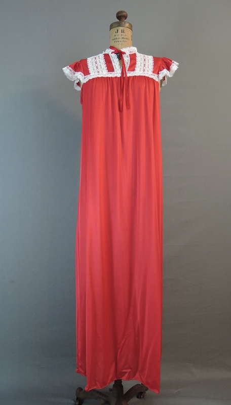 Vintage 1970s Red Nylon Nightgown with Cap Sleeves, 36-38 bust