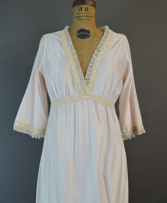 Vintage 1980s Palest Pink Satin Nightgown with Sleeves, 36 bust