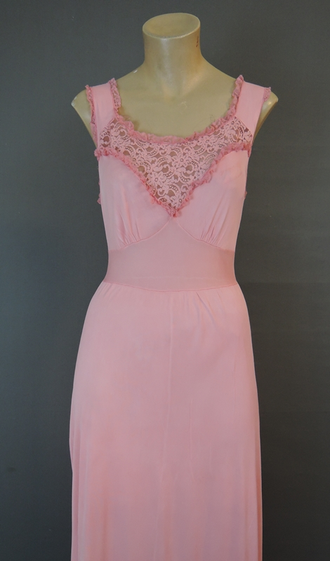 Vintage 1960s Pink Nylon Nightgown with Lace, 32 bust