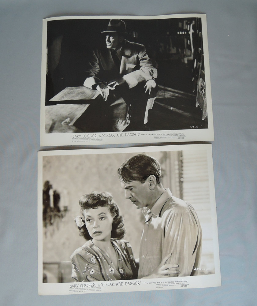 Vintage 2 Gary Cooper Original Movie Publicity Stills from 'Cloak and Dagger'1946
