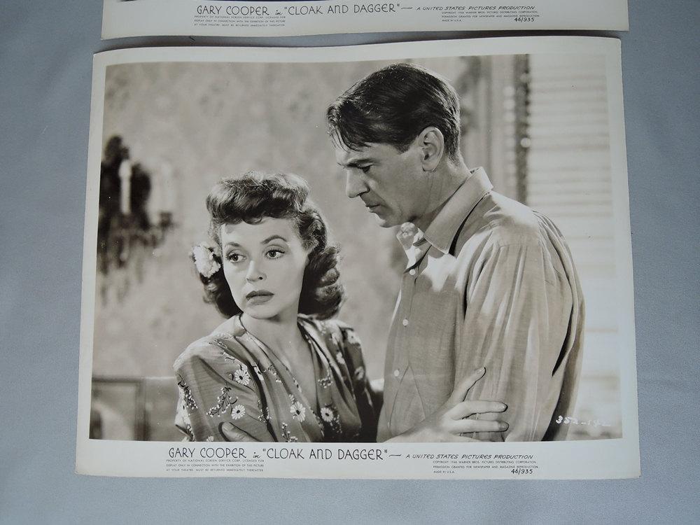2 Gary Cooper Original Movie Publicity Stills from 'Cloak and Dagger'1946
