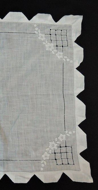 Vintage White Wedding  Hankie with Floral Appliques & Knotched Edges
