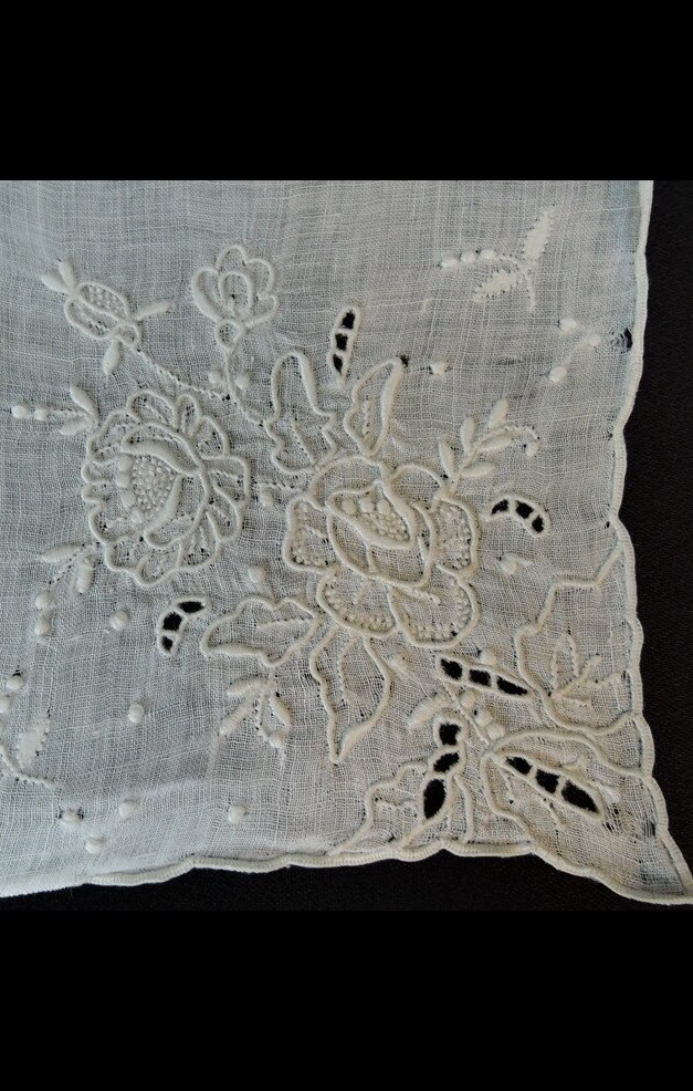 Vintage White Wedding Hankie with Raised Floral Embroidery & Cutwork