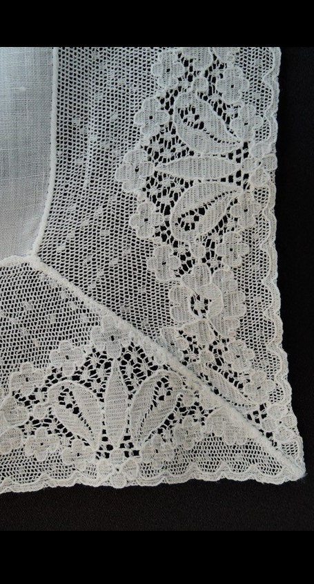 Vintage White Wedding Hankie with 2-1/2 inch wide Cotton Lace Edge
