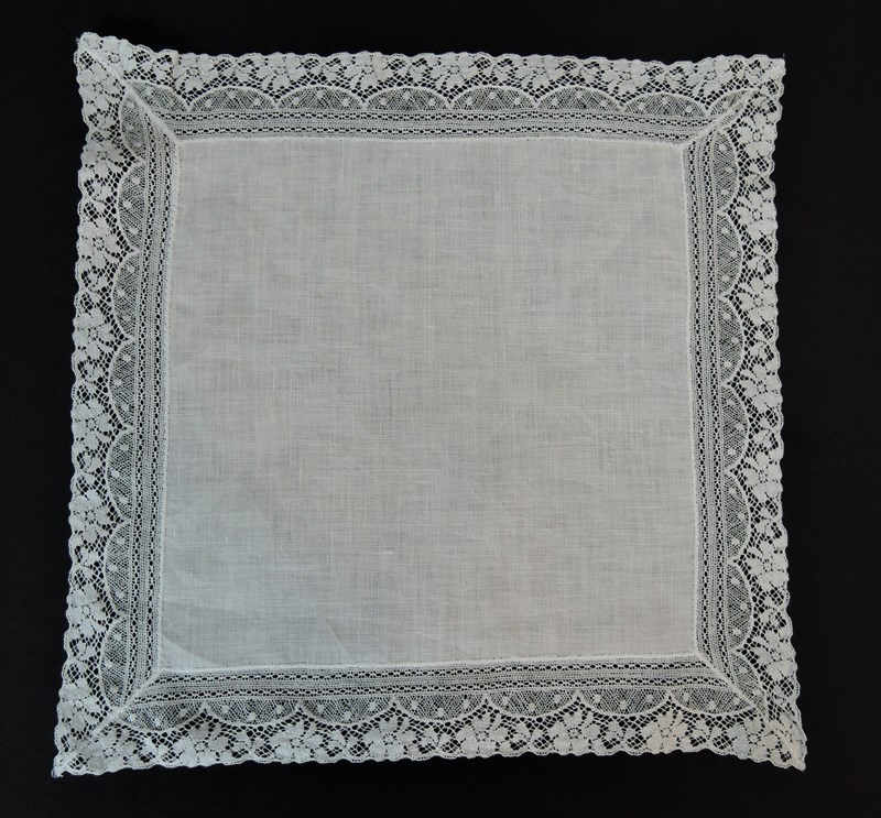 Vintage White Wedding Hankie with 1-1/2 inch wide Cotton Floral Lace