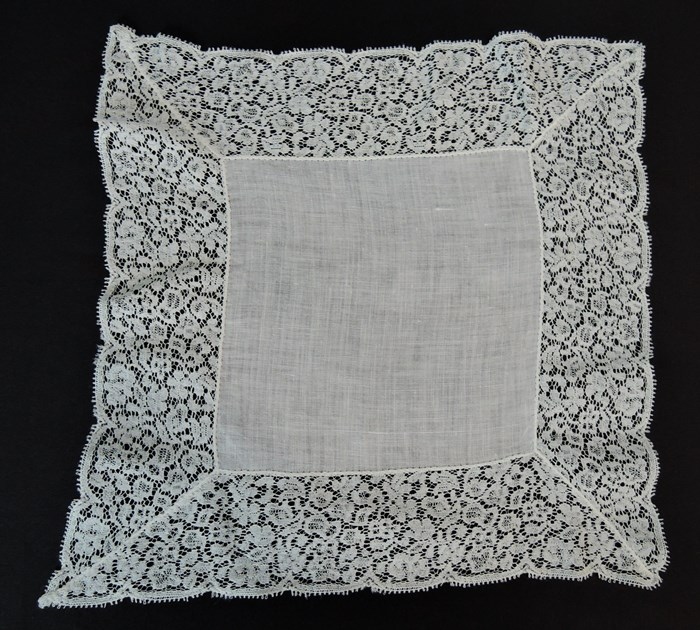 Vintage White Wedding Hankie with 2-1/4 inch wide White Cotton Lace Edge