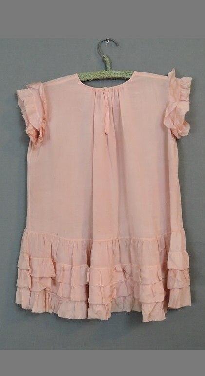 Vintage 1930s Little Girl's Pleated Peach Crepe Dress
