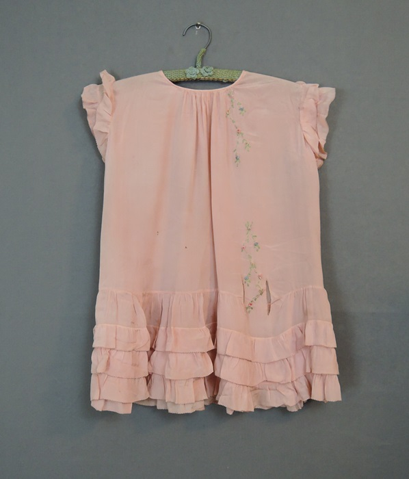 1930s Little Girl's Pleated Peach Crepe Dress