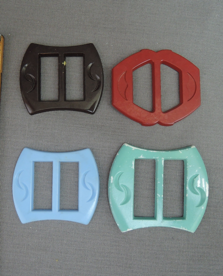 Lot of 4 Vintage Plastic Dress Buckles, 1940s Blue, Red, Green Brown
