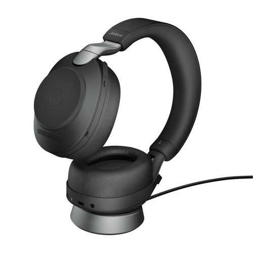Jabra Evolve2 85 UC Stereo ANC Headset, Link 380 USB-A Wireless Adapter, Charging Stand (Black)