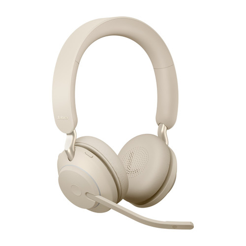 Jabra Evolve2 65 MS Stereo Office Headset, Link 380 USB-A Wireless Adapter (Beige)