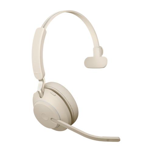 Jabra Evolve2 65 MS Mono Office Headset, Link 380 USB-C Wireless Adapter (Beige)