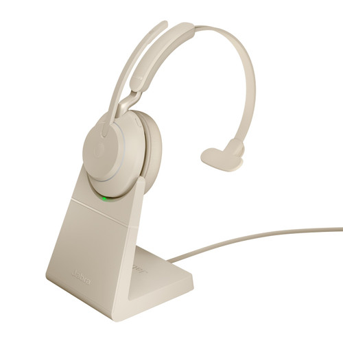 Jabra Evolve2 65 MS Mono Office Headset, Link 380 USB-C Wireless Adapter, Charging Stand (Beige)