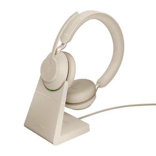 Jabra Evolve2 65 MS Stereo Office Headset, Link 380 USB-C Wireless Adapter, Charging Stand (Beige)