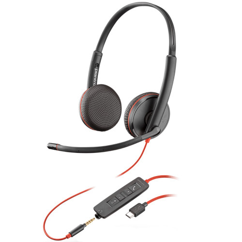 Poly Blackwire 3225 Stereo USB-C With 3.5mm Office Headset