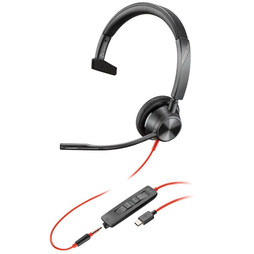 Poly Blackwire 3315-M Mono USB-C With 3.5mm Microsoft Teams Office Headset