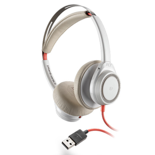Poly Blackwire 7225 Boomless Active Noise Cancelling USB-A Office Headset (White)