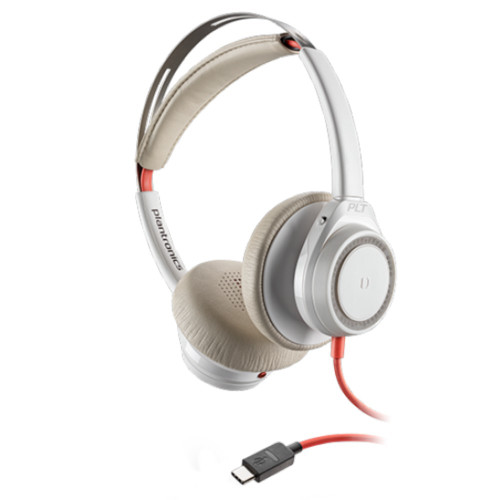 Poly Blackwire 7225 Boomless Active Noise Cancelling USB-C Office Headset (White)