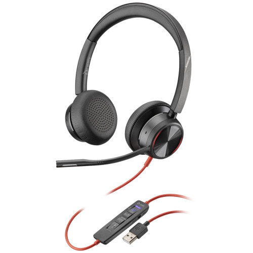 Poly Blackwire 8225-M Active Noise Cancelling Microsoft Teams USB-A Office Headset With Adjustable Mic Boom
