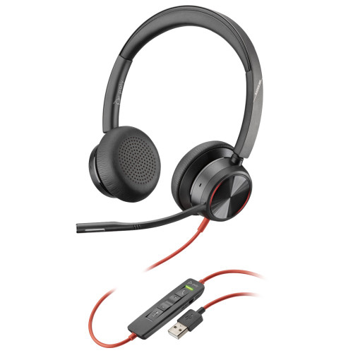 Poly Blackwire 8225 UC Active Noise Cancelling UC Office Headset USB-A With Adjustable Mic Boom