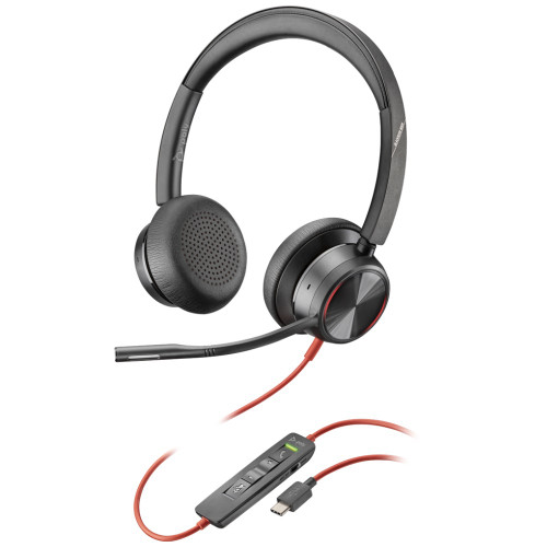 Poly Blackwire 8225 UC Active Noise Cancelling UC Office Headset USB-C With Adjustable Mic Boom
