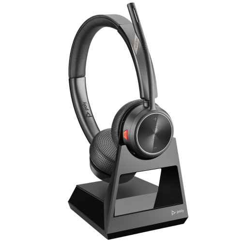 Poly Savi 7220 Stereo Wireless DECT Headset System For Desk Phones, With Charging Base