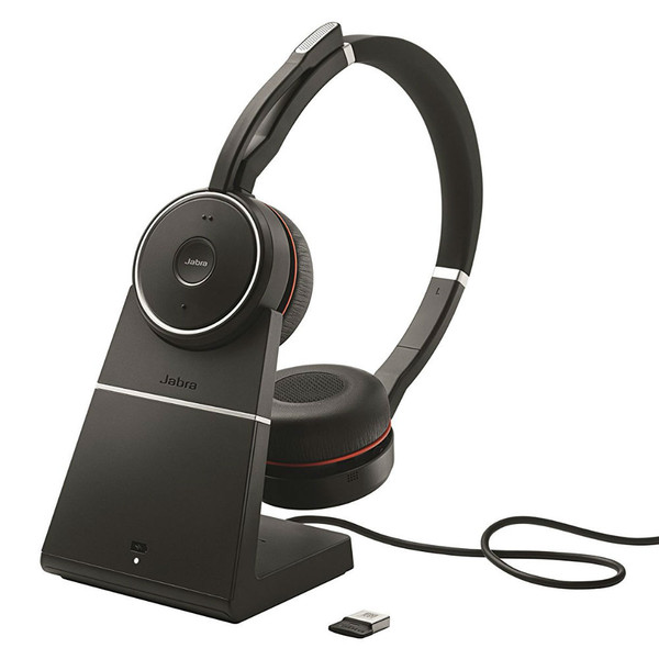 Jabra Evolve 75+ UC Wireless Noise Cancelling Headset With Charging Stand & USB Adapter